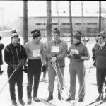 вид от лыжной базы на зимний стадион